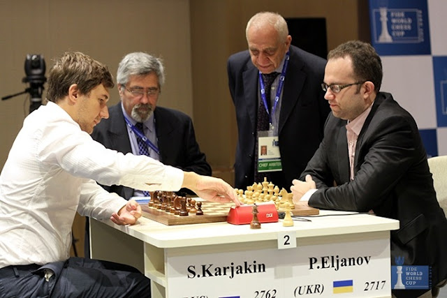 Sergey Karjakin y Pavel Eljanov en las semifinales de la Copa del Mund de Ajedrez 2015