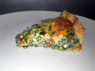 Amazing quiche filled with Spinach, Artichokes, Roasted Red Peppers, and Cheeses.
