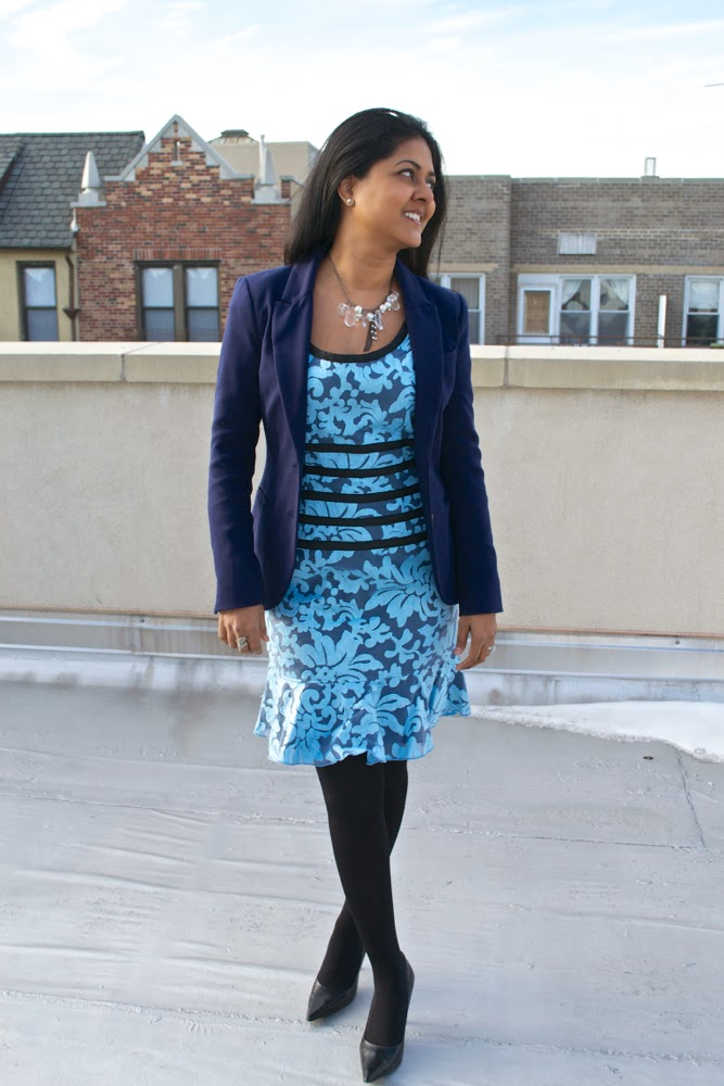 blue dress lace dress blue blazer h&m blazer