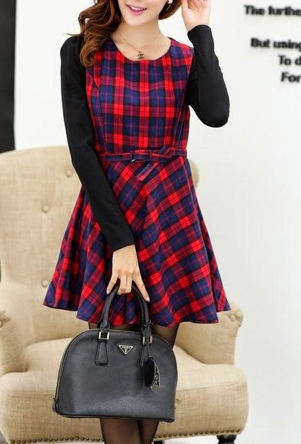 Vestido xadrez de manga comprida