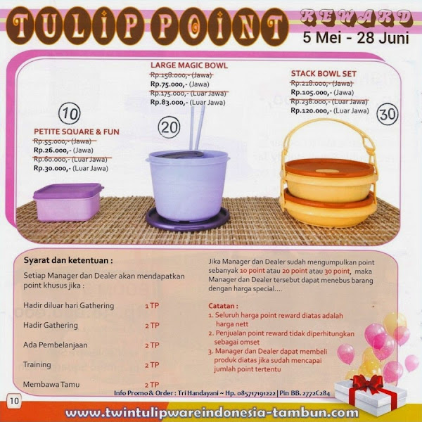 Point Reward Tulipware Mei - Juni 2014, Petite Square Fun, Large Magic Bowl, Stack Bowl Set