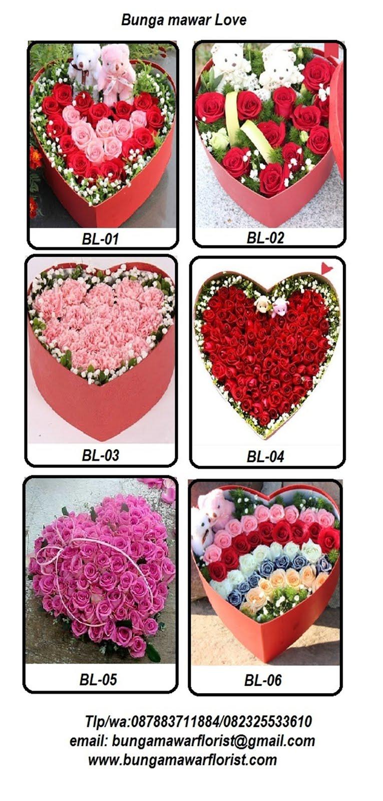 Bunga mawar bentuk love di Jakarta dan sekitarnya