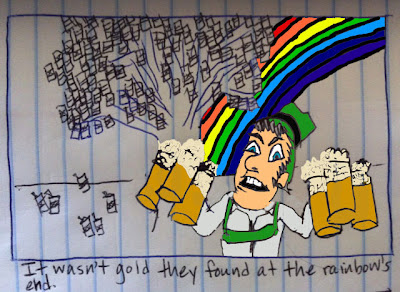a leprechaun has beer with a rainbow