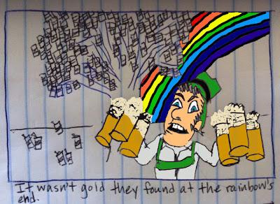 a leprechaun has beer with a rainbow