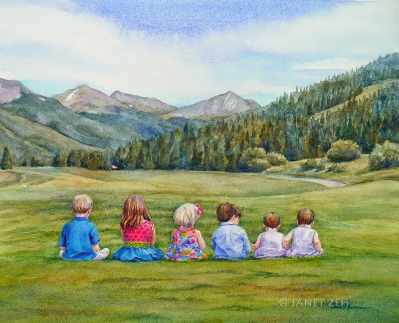Children and Mountains Custom Watercolor Painting