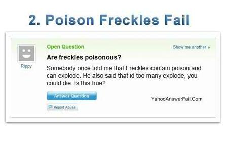 yahoo answers fail - Poison Freckles Fail