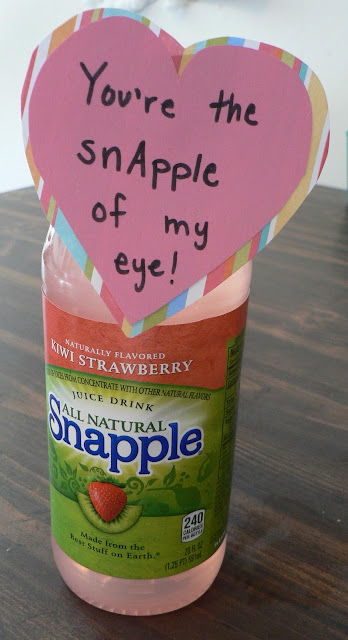 Healthy Valentine Treats for kids, Snapple valentine