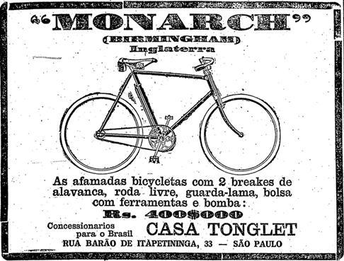 Propaganda das Bicicletas Monark em 1924. Bicicletas importadas da Inglaterra e comercializadas no Brasil.