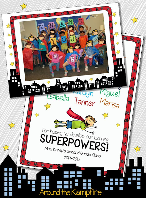 Superhero EDITABLE class thank you card
