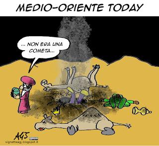 Siria, medio oriente, natale, magi, cometa, satira vignetta