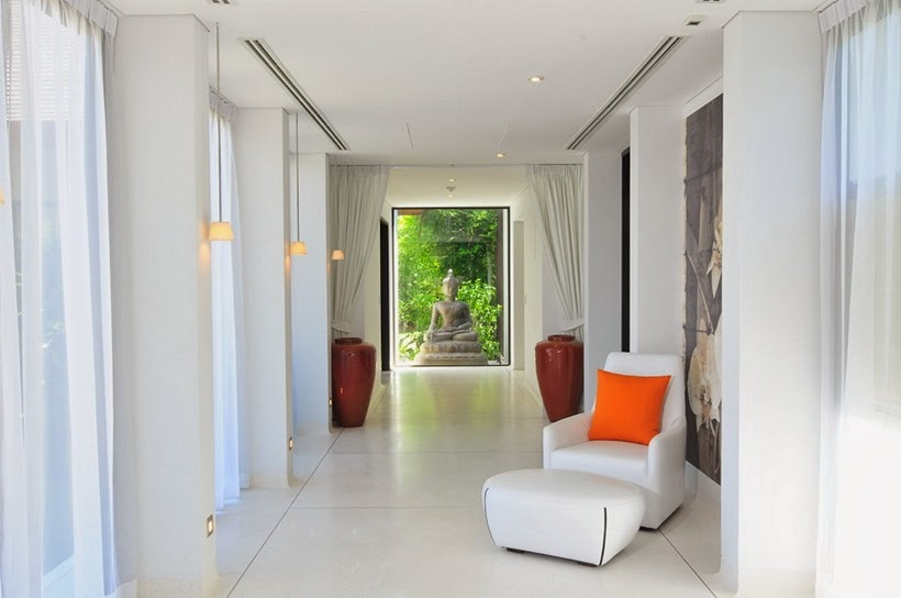 White hallway in Contemporary villa in Phuket, Thailand