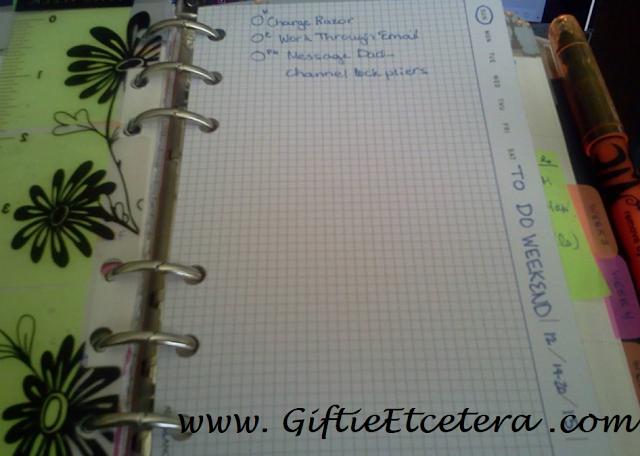 weekend plan; task list; weekly plan