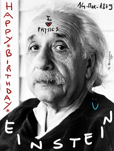 "Immagine di Einstein con scritto ""Happy birthday Einstein_14-Mar-1879"" (by sciencemug)"