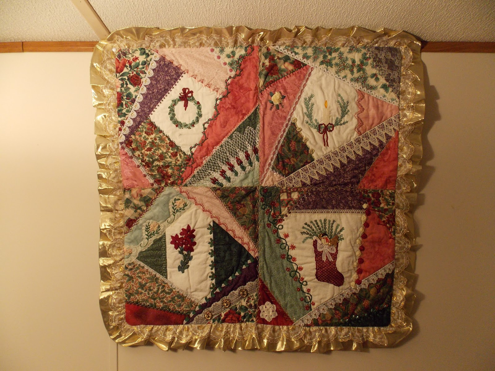 The Beaded Needle: Crazy Quilted Christmas Wall Hanging : christmas quilt wall hanging - Adamdwight.com