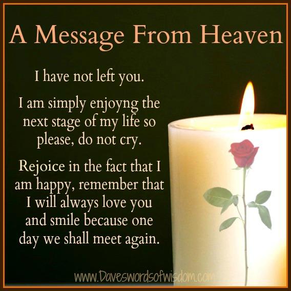 Daveswordsofwisdom.com: A Message From Heaven