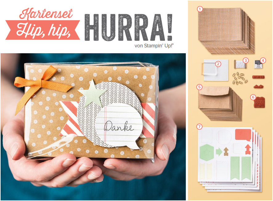 Stampin`Up Kartenset Hip, hip, hurra!