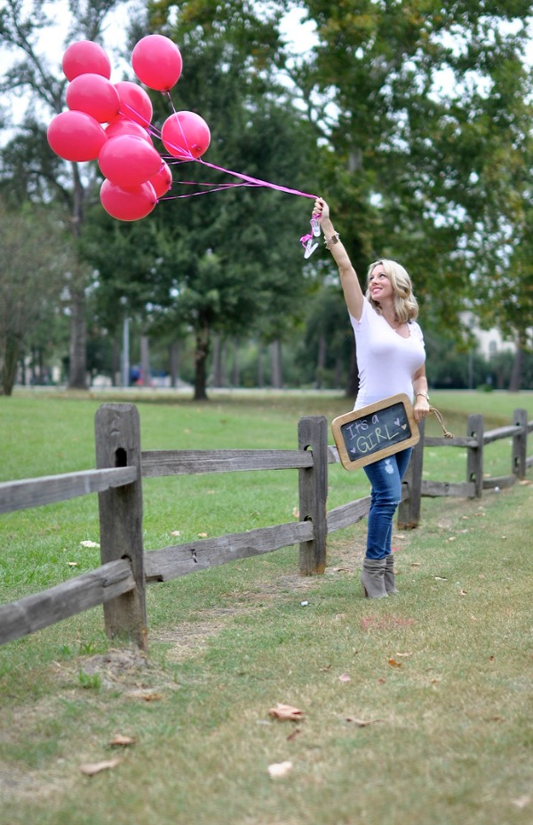 Gender Reveal - It's a Girl chalk sign and balloons | Honey We're Home