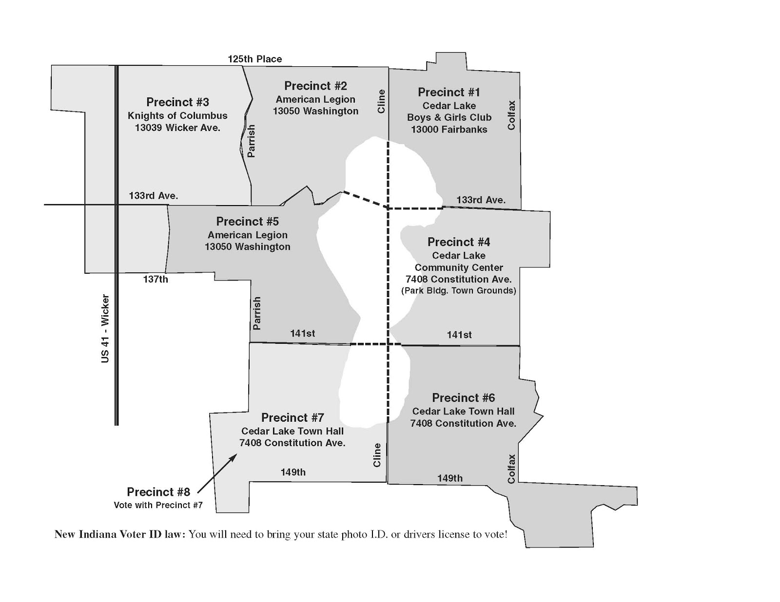 a map of precincts in cedar lake