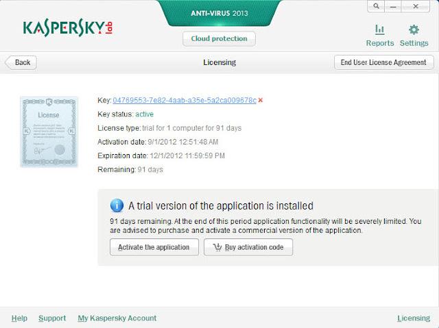Kaspersky Antivirus 2013 - Licensing