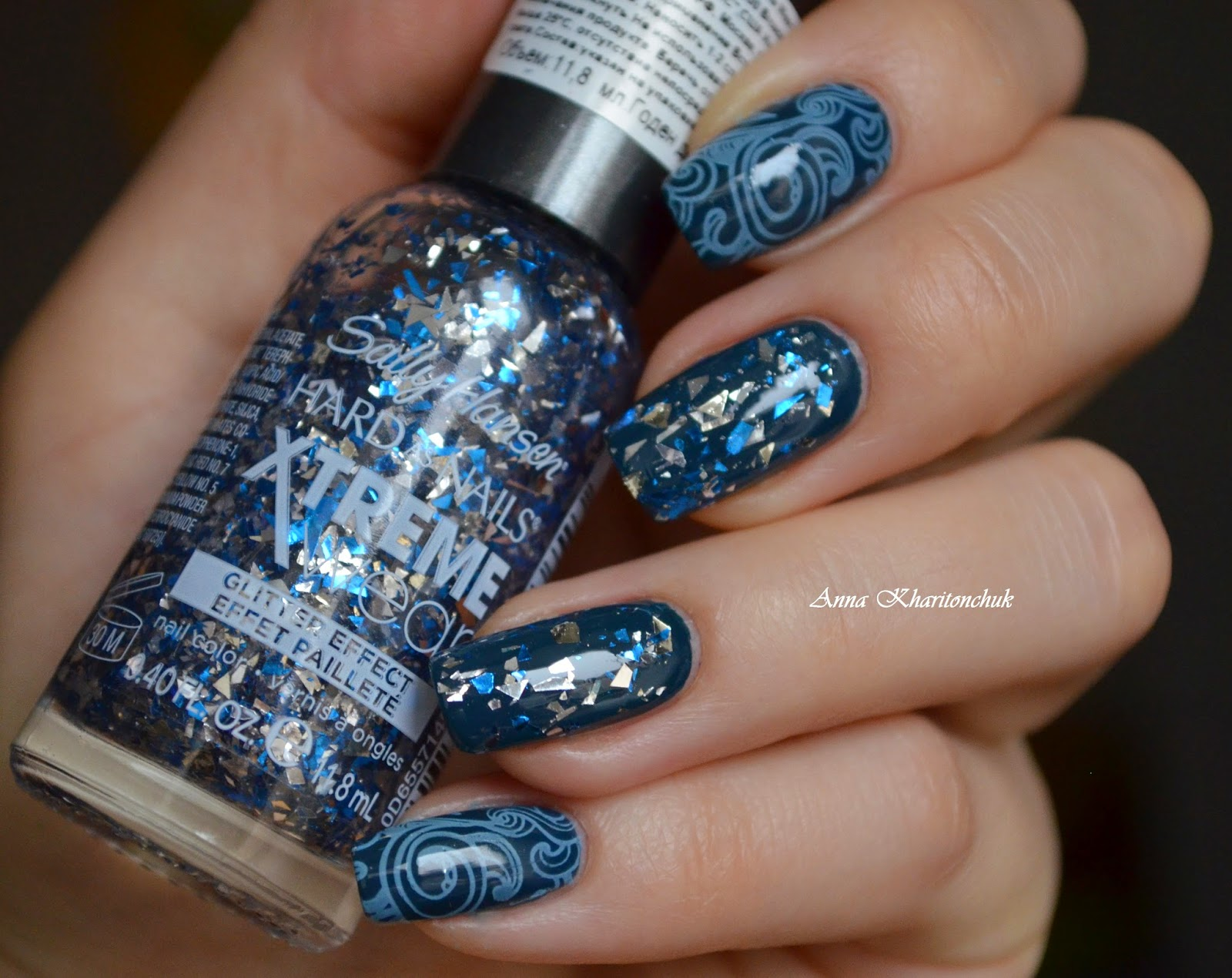 China Glaze Well Trained, Sally Hansen Hard as Nails Xtreme Wear Glitter Effect # 970 Family Jewels стемпинг BP-28 и краска для стемпинга Enas