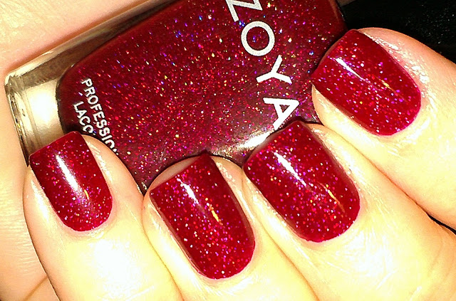 zoya ornate - red scattered holo