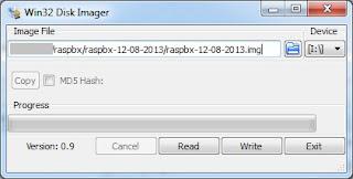 Win32DiskImager para grabar la imagen de la RasPbx en la tarjeta SD
