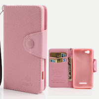 Leather Case Wallet with Card Slot for Sony Xperia M C1904 C1905 C2004 C2005 - Baby Pink