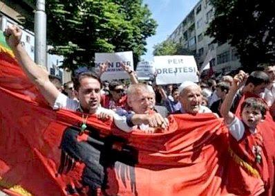 Albanian protesters in Skopje