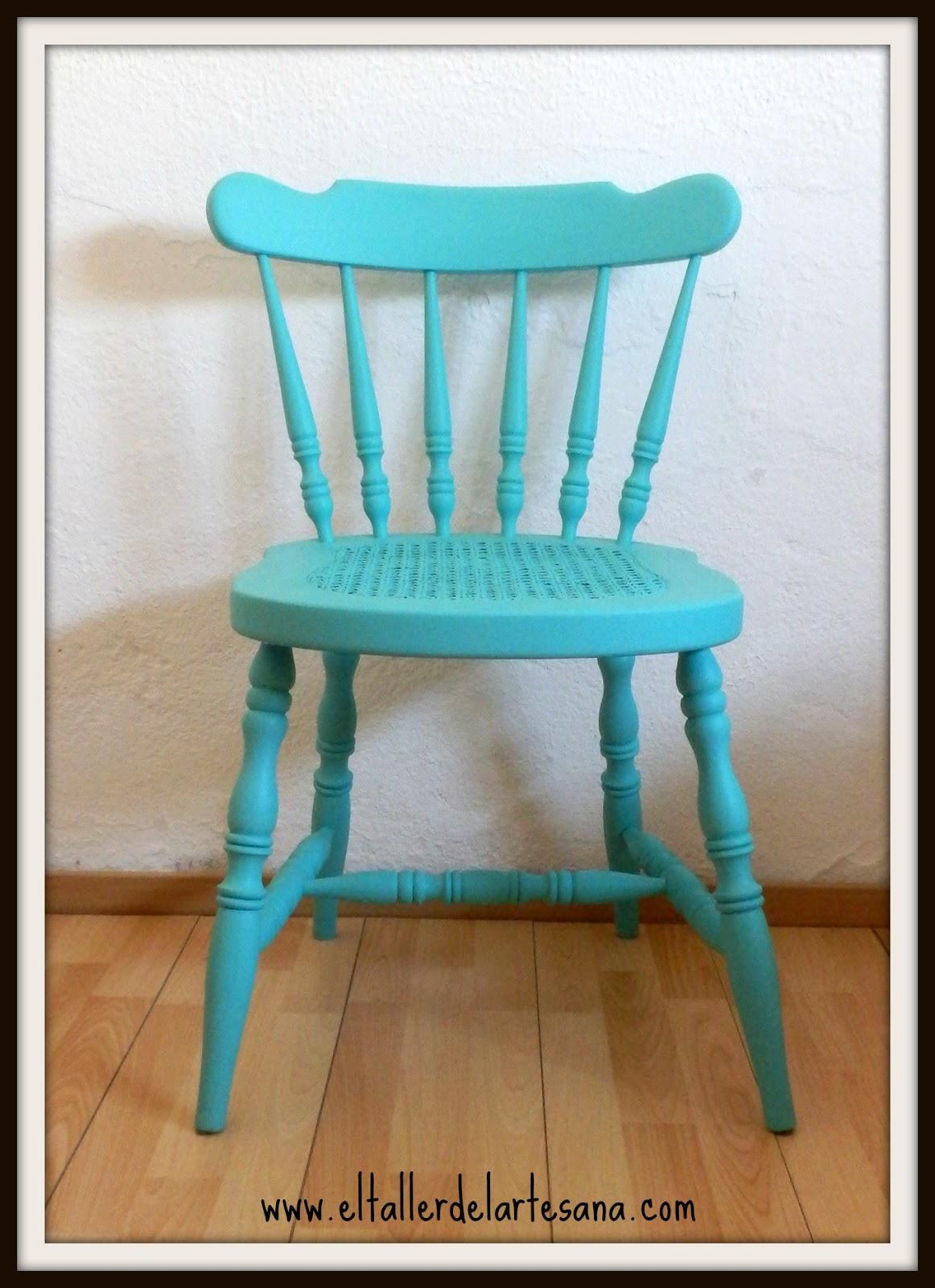 El taller de la artesana silla windsor verde agua for Cojin para sillas