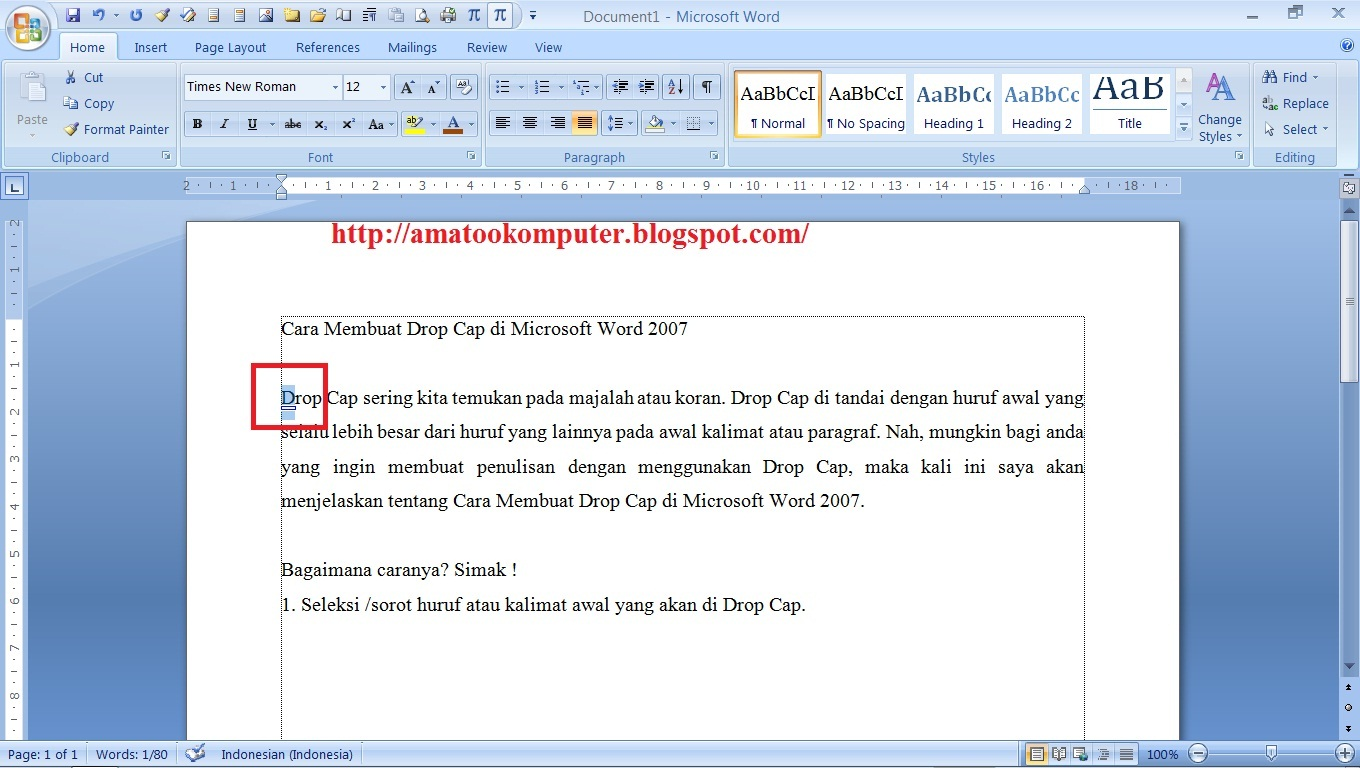 Cara Membuat Drop Cap di Microsoft Word 2007, Drop Cap, Microsoft Word ...