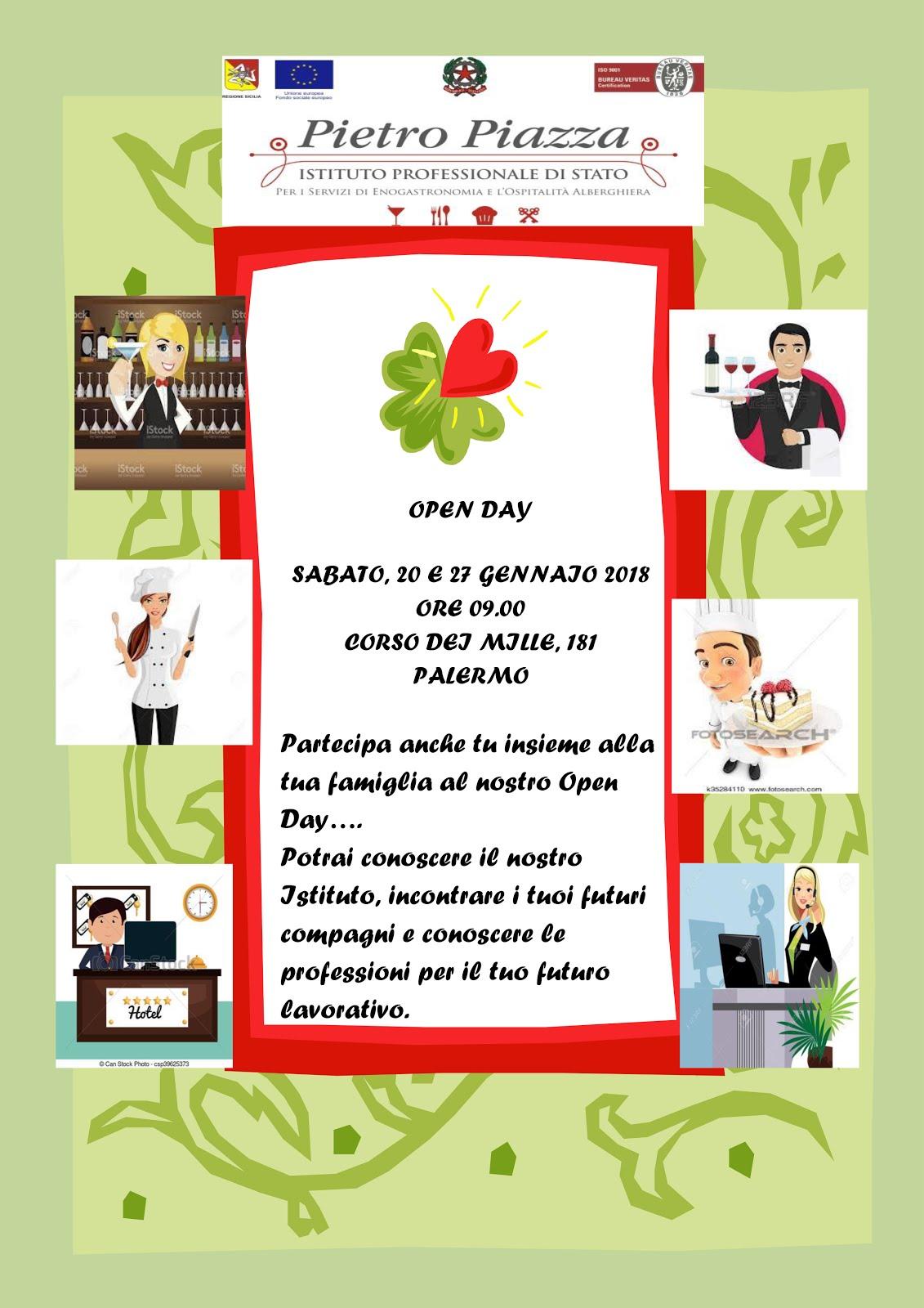 Open Day Pietro Piazza 20 e 27 Gennaio 2018