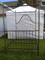 hand wrought iron canopy queen bed...$895