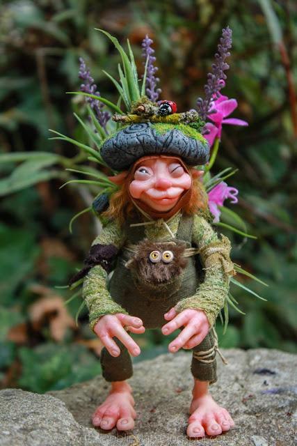 creature handmade fantasy green wood sprite pixie