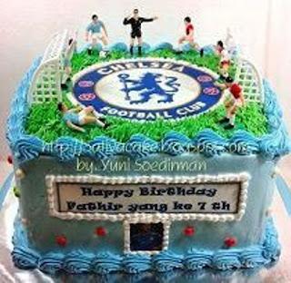 Kue Ulang Tahun Anak Laki-Laki Tema Sepak Bola Chelsea