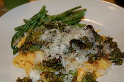 Sweet Potato Pasta with Crispy Kale