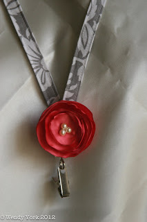 Gray and White Floral Fabric Lanyard with Coral Flower handmade by kelleyroad on etsy