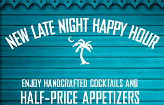 happy hour, late night happy hour, appetizers, drinks, Bahama Breeze