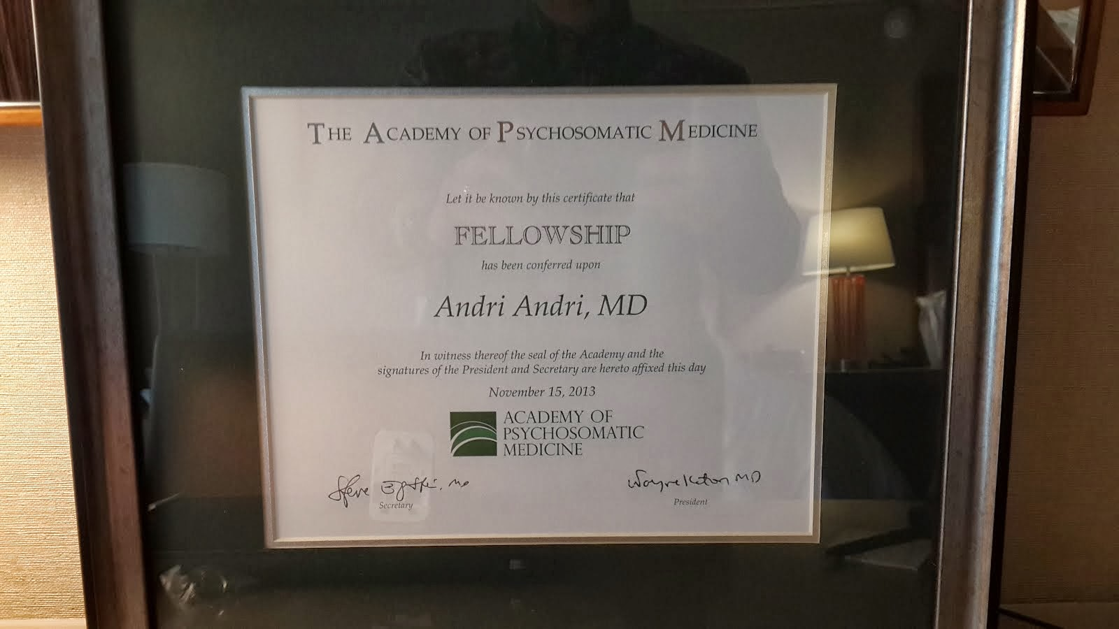 Pengakuan Fellow (FAPM) Kepada dr.Andri,SpKJ