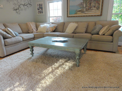 Shabby chic before after finding silver pennies for Duck egg living room ideas