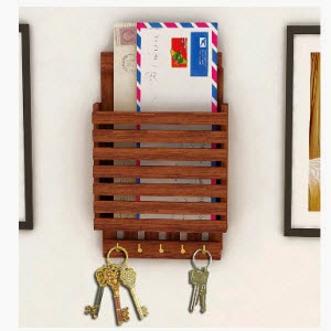 Pepperfry: Buy Home Sparkle Wooden Letter Rack Cum Key Holder Rs. 199