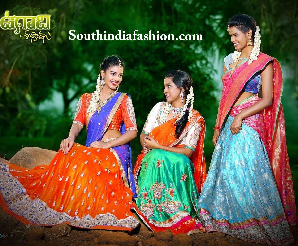 mugdha art studio designer half sarees