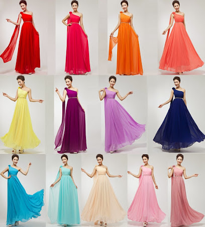 Multi-Color Greek Style One Shoulder Jeweled Waist Bridesmaids Dress