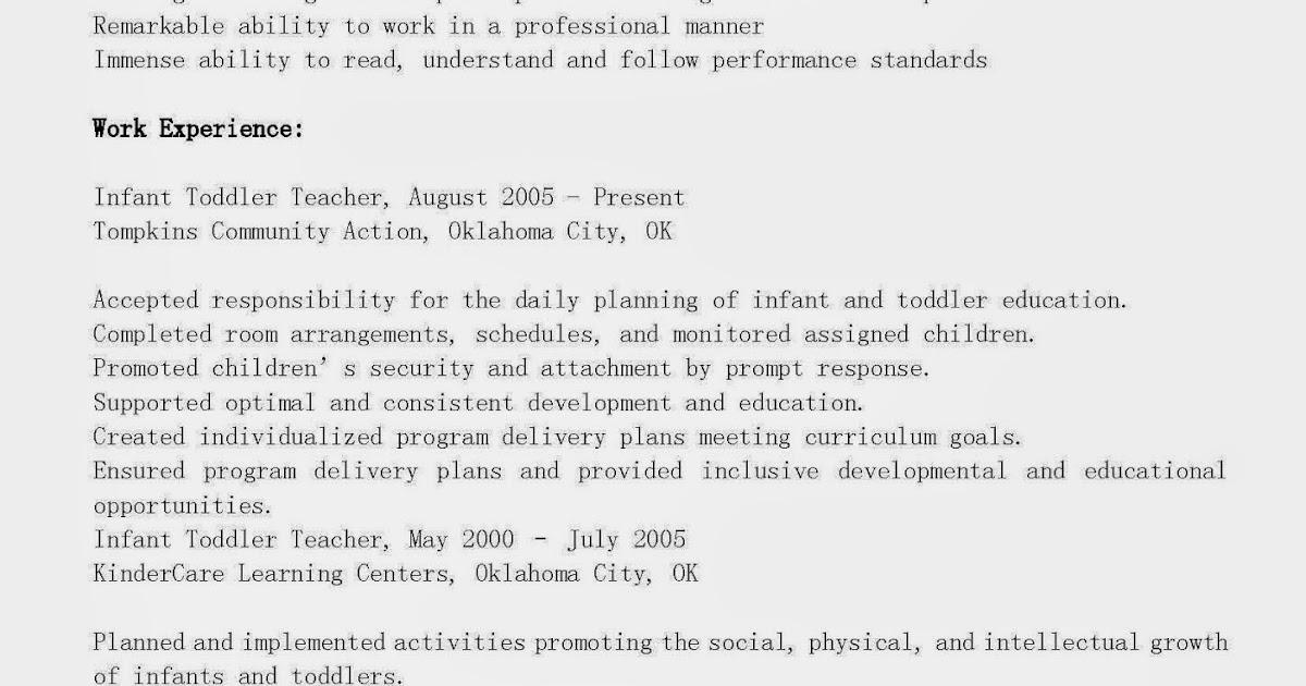 resume samples  infant toddler teacher resume sample