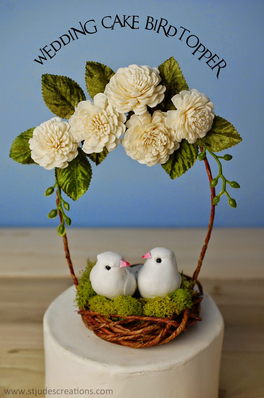 Wedding Cake Topper With Birds Handmade Paper Flowers By Maria Noble