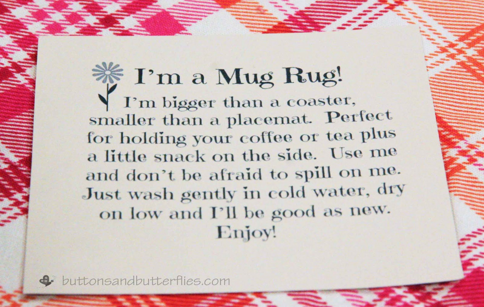 Buttons And Butterflies Mug Rug Tag