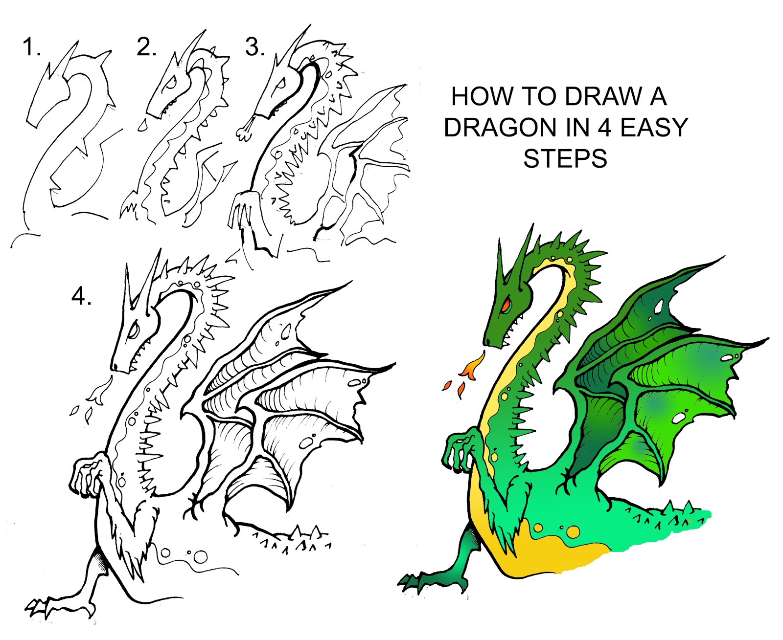 DARYL HOBSON ARTWORK: How To Draw A Dragon step by step