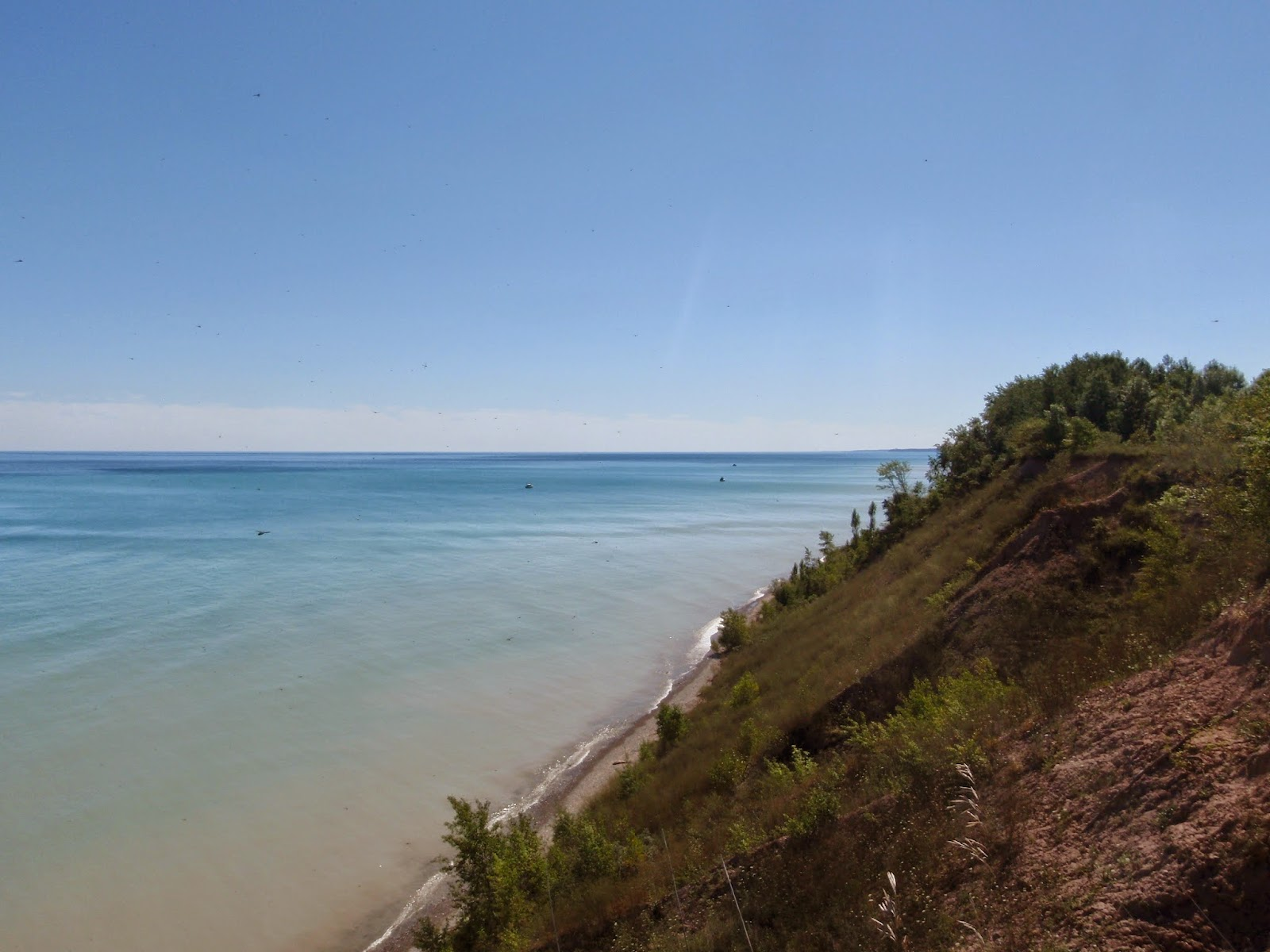 Bluff Trail and a view of the bluff line along Lake Michigan at  Lion's Den Gorge Nature Preserve