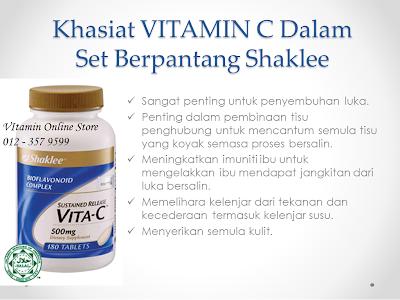 vitamin c dalam set berpantang shaklee