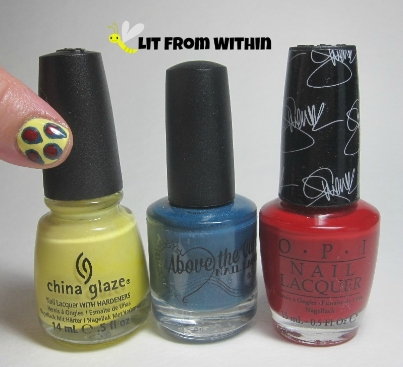 Bottle shot: China Glaze Lemon Fizz, Above The Curve Suspense, and OPI Over and Over A-Gwen.