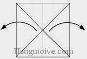 Bước 4: Mở hai cạnh trái, phải của tờ giấy ra phía bên ngoài
